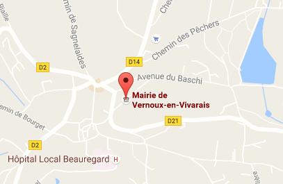 Géolocalisation de la mairie de Vernoux sur une carte