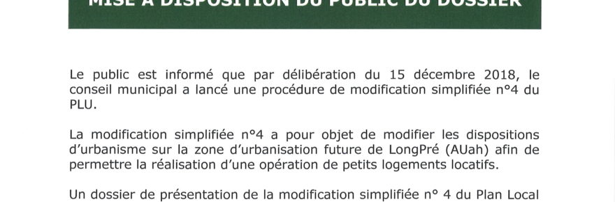 modification simplifiée n°4 du P.L.U.